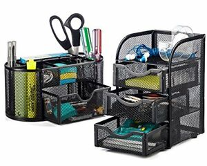 2 Piece Mesh Desk Organizer Set Oval Supply Caddy 3 Drawer Mini Storage Black