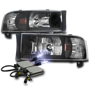 1994 2001 Dodge Ram 1500 2500 3500 Black Set Crystal Headlights Lamp 10k Hid Kit
