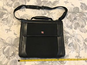 Black Leather Swiss Wenger Portfolio Organizer And Planner Carrying Case