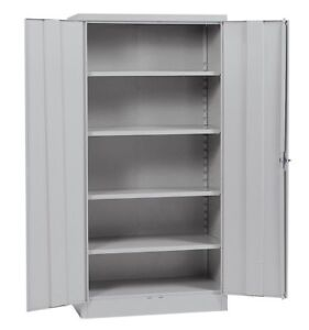 Metal Storage Cabinet Steel Locking With Doors Lock Garage Shop 72 Tall Grey