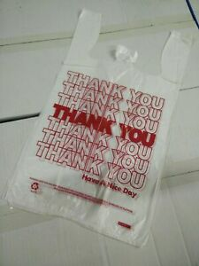Thank You T shirt Bags 11 5 X 6 X 21 White Plastic Shopping Bags 1 6 Bags