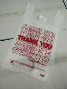 1000 Pcs 1 6 T shirt Bag Thank You Plastic Retail Carry Out Bags 11 5 x6 x21