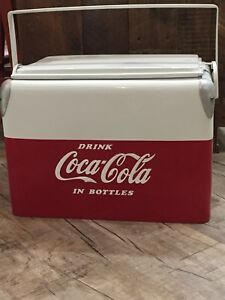 1950's Vintage Coca Cola Ice Chest Cooler Sandwich Tray Lid Style