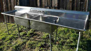 Commercial Sink 10 2 Compartment W Drainboards Excellent