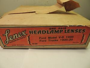 1935 39 Ford Trucks 1935ford Model A V 8 A Pair Headlight Lenses Antique Vintage