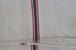 Antique European Hemp Grain Sack Lovely Green And Red Stripes
