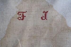 Antique European Hemp Grain Sack Beautiful Rare Embroidered Monogrammed Red