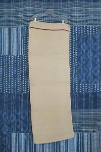 Antique European Hemp Grain Sack Rare Single Horizontal Maroon Red Blue Stripe