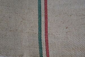 Antique European Hemp Grain Sack Beautiful Green And Red Stripes