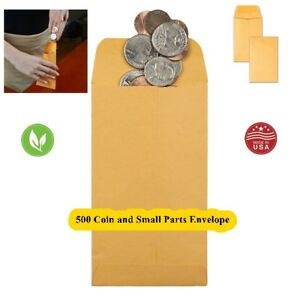 Lot500 Coin Small Card Small Item Envelope 1 4x3 1 2 Brown Flap Travel Made Usa