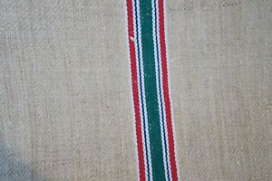 Antique European Hemp Grain Sack Beautiful Red White Blue And Green Stripes