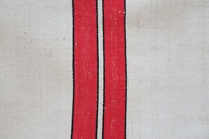 Antique European Hemp Grain Sack Gorgeous Black And Red Stripes