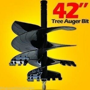 42 Tree Auger Bit For Skid Steer Loaders 2 9 16 Round Drive Fits Cat Bobcat
