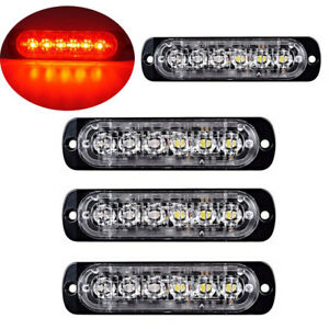 4pc 6 Led Light Flash Emergency Car Vehicle Warning Strobe Flashing Red Red