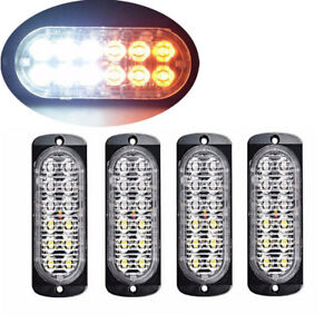 4pc Amber White 12led Car Truck Emergency Warning Hazard Flash Strobe Light