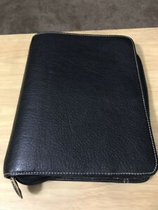 Franklin Black Leather Day Planner 7 Ring Franklin Covey