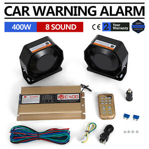 At 400w 12v 8 Sound Loud Car Warning Alarm Police Fire Siren Pa Mic System Tone