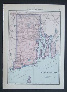 103 Yr Old Original Antique 1915 Atlas Map Of Rhode Island And Connecticut