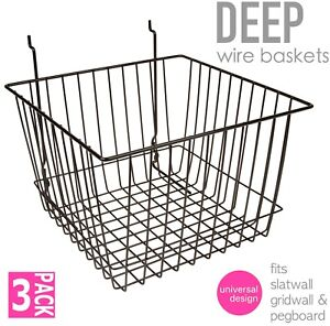 Only Hangers Deep Wire Baskets For Gridwall Slatwall And Pegboard Black 3pk