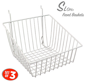Only Hangers Sloped Front Wire Basket For Gridwall Slatwall And Pegboard White