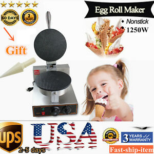 Electric Commercial Stainless Nonstick Ice Cream Waffle Cone Maker Baker Machine