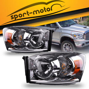 For 2007 2008 Dodge Ram 1500 2500 3500 Pickup Headlights Headlamps Assembly Pair