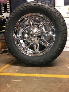 20 D530 Fuel Hostage Chrome Wheels 33 At Tires Package 6 5 5 Chevy Gmc 6 Lug