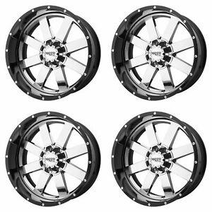 4x Moto 20 Mo200 Wheels Chrome W Gloss Black Milled 20x12 8x170 44mm