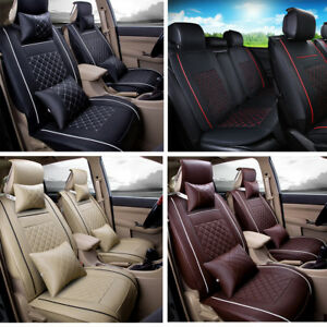 Us Auto Car 5 seat M Size Pu Leather Seat Covers Front rear W 4 Free Pillows