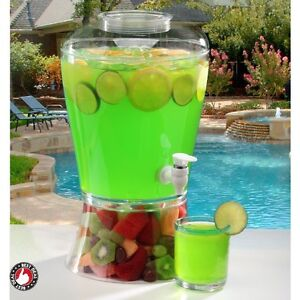 Large Beverage Dispenser Cold Drink Plastic Acrylic Punch Party 2 Gallon Juice
