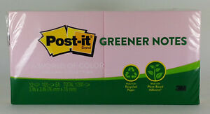 Post it Notes 3 X 3 Inch 100 Sheet Pads Greener Notes 3 Packs Of 12 Pads New
