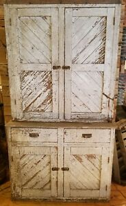 Antique White Painted Two Piece Farmhouse Cottage Cupboard Stepback Cabinet