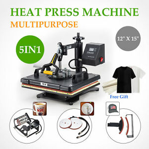 5 In 1 Swing Away Digital Heat Press Machine Sublimation T shirt Plate Mug Hat