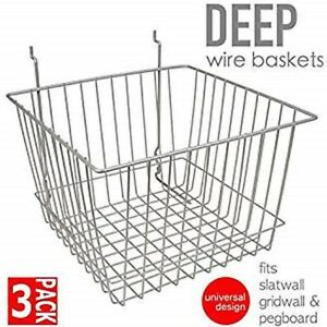 Only Hangers Deep Wire Baskets For Gridwall Slatwall And Pegboard Chrome 3pk