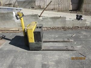 Older Walk Behind Electric Pallet Jack 4ft Fork Works Needs Batteries Yale