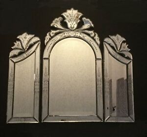 Beautiful Venetian Glass Tri Fold Mirror Cut Out Arched Tops Beveled Glass