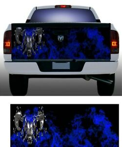 Blue Flame Fire Dodge Ram Truck Tailgate Vinyl Graphic Decal Wrap
