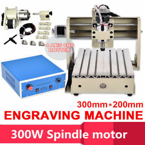 300w 4 Axis 3020 Cnc Router Engraver Engraving Drilling Milling Cutter Machine