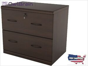 2drawer Lateral Wood Lockable Office File Cabinet Home Office Furniture Organize