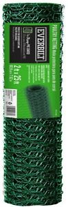 Everbilt 2 X 25 Ft Pvc Coated Poultry Netting Animal Pen Fence Chicken Wire Mesh