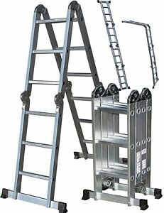 Aluminum Folding Scaffold Work Ladder 11 5ft Light Weight Multi purpose Extensio