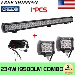 36inch 234w Cree Led Work Light Bar Truck Boat 4wd 2x4 Inch 18w Pods Wiring Kit