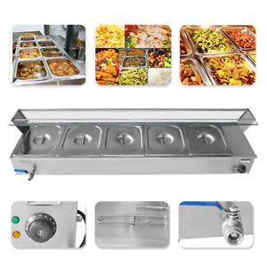 5 pan Steamer Bain marie Buffet Countertop Food Warmer Steam Table 110v 1500w