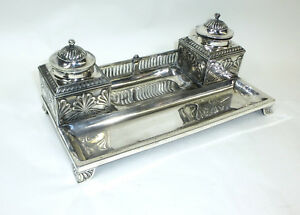 Inkwell In The Empire Style Um 1900 Bronze Silver Plated Orivit