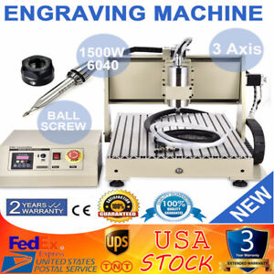 3 Axis Cnc 6040t Router Engraver Metalworking Milling Machine Carving Tool 1500w