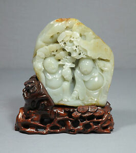 Nice Carved Natural Chinese He Tian Jade Boulder
