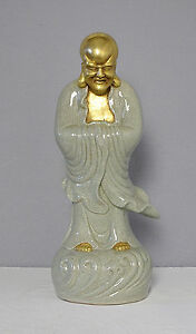Large Chinese Crackle Celadon Porcelain Statue Of Buddha M2030