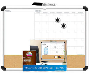 Mozlly The Board Dudes Magnetic 3 in 1 Dry Erase Cork Calendar Board 4pc Set
