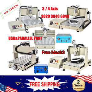 3 4 Axis Cnc Router Engraver Mill 3d Cutter Usb parallel 300 400 800 1500w Mach3