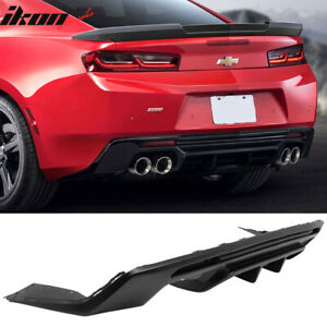 Fits 16 20 Chevy Camaro Rear Bumper Lip Diffuser Quad Exhaust Matte Black